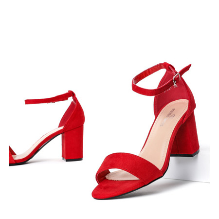 Sandały czerwone z eko-skóry na słupku Cefalia - Obuwie