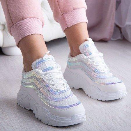 Sportowe buty daddy shoes z holograficznym wykończeniem Tevabellas