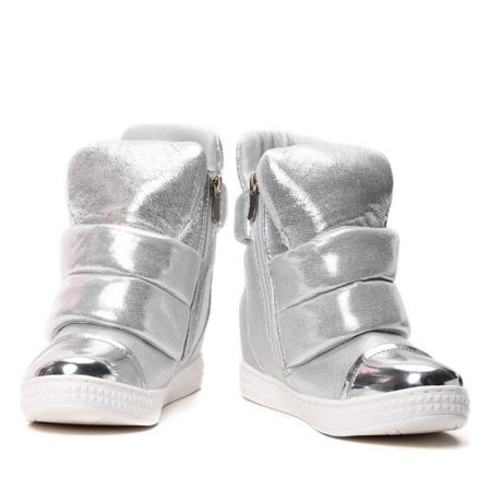 Srebrne sneakersy na krytym koturnie Panic - Obuwie