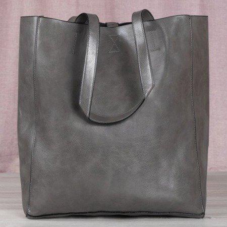 Szara duża torba damska na ramię - Torebki
