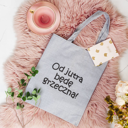 Szara torba z napisem - Torebki