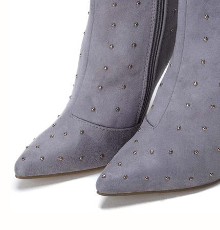 Szare botki na szpilce z dżetami Audrey - Obuwie