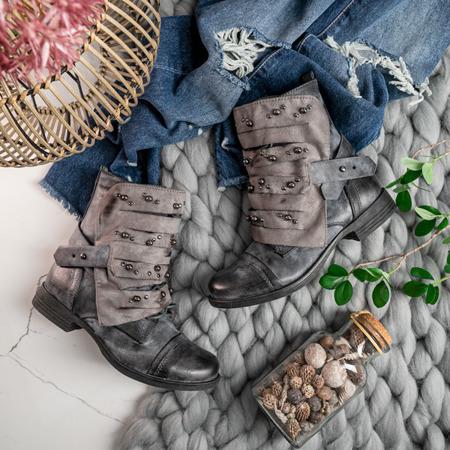Szare botki z dżetami  Lenia - Obuwie