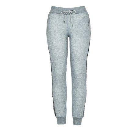 Szare damskie spodnie dresowe z napisami - Spodnie