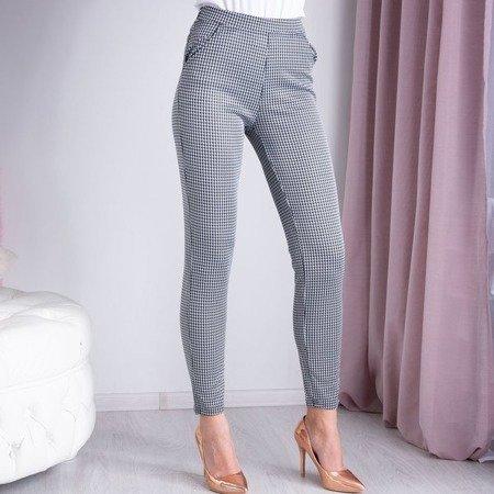 Szare - granatowe spodnie na gumkę w pepitkę - Spodnie