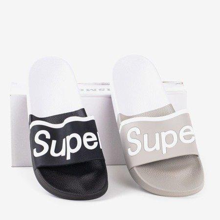 Szare męskie klapki z napisem Super - Obuwie