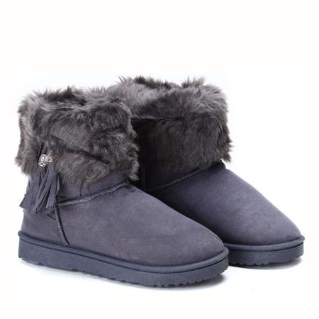 Szare, ocieplane śniegowce - Obuwie