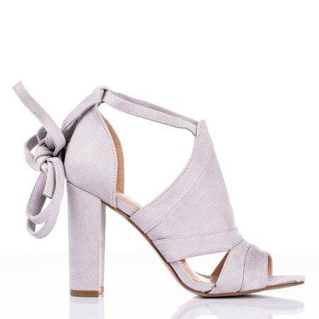 Szare sandały damskie na wyższym słupku z cholewką Lanaline - Obuwie