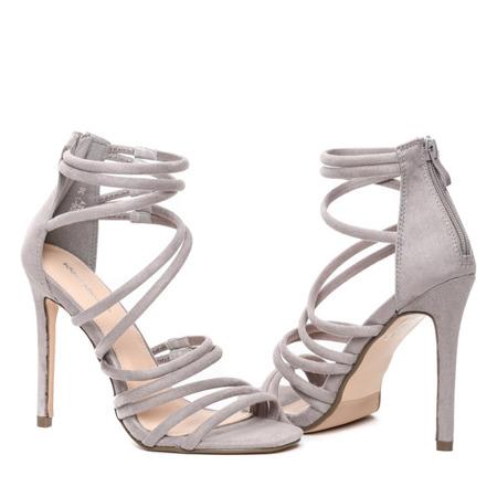 Szare sandały na szpilce Damien - Obuwie