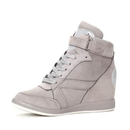Szare sneakersy na koturnie - Obuwie