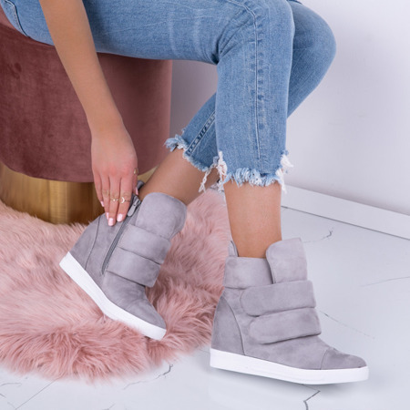 Szare sneakersy na krytej koturnie Oh Little Girl - Obuwie