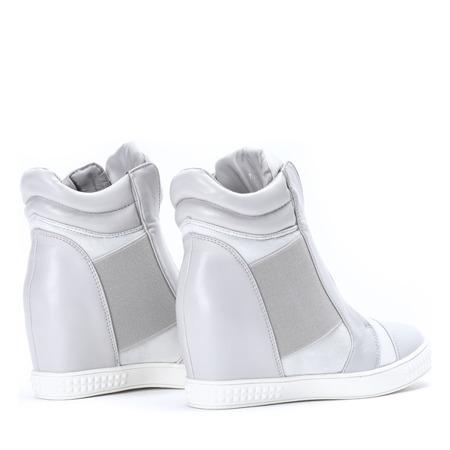 Szare sneakersy na krytym koturnie Brylee - Obuwie