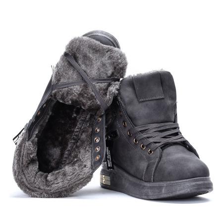 Szare sneakersy z futerkiem Sybilla- Obuwie
