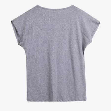 Szary t-shirt damski z nadrukiem - Odzież