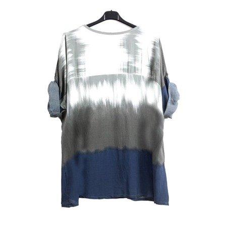 Tunika damska w kolorze khaki ze srebrnymi napisami - Odzież