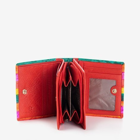 Wielokolorowy mały portfel skórzany- Portfel