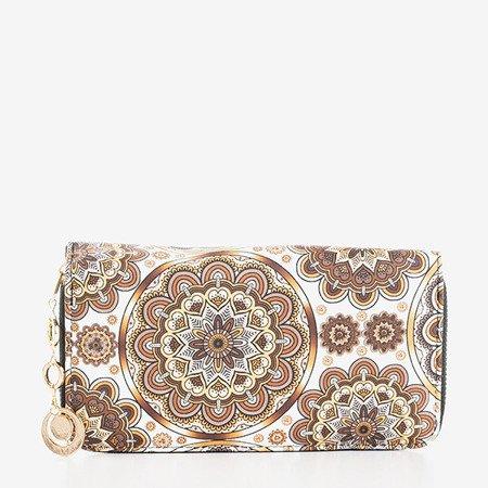 Wzorzysty duży portfel damski w kolorze brązowym - Portfel