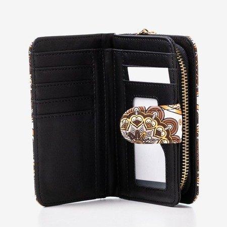 Wzorzysty mały portfel damski w kolorze brązowym - Portfel