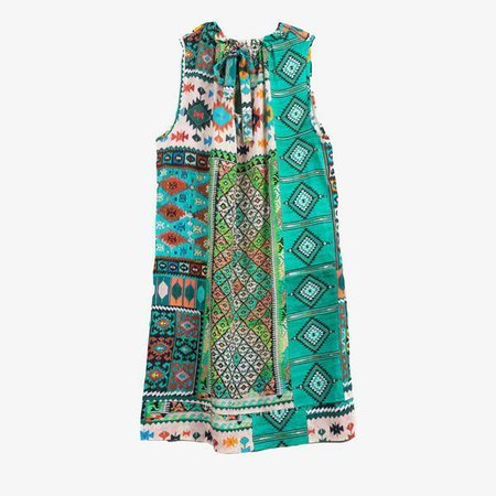 Zielona sukienka w geometryczny wzór - Odzież
