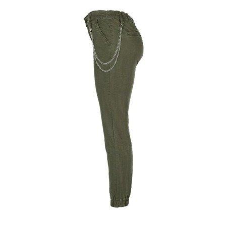 Zielone damskie spodnie cargo z łańcuchem - Spodnie