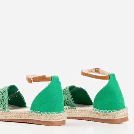 Zielone espadryle z ażurową cholewką Asti - Obuwie