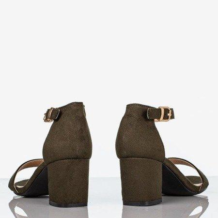 Zielone sandały damskie na niskim słupku Puddin - Obuwie
