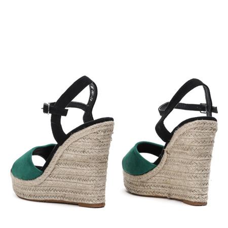 Zielone sandały na wysokiej koturnie Belvia - Obuwie