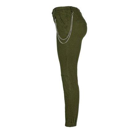 Zielone spodnie damskie cargo z łańcuchem - Spodnie