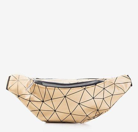 Złota torebka typu nerka z geometrycznym wzorem - Torebki