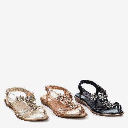 Złote damskie sandały z kryształkami Crisela - Obuwie