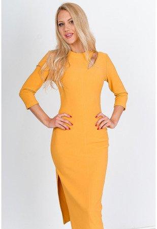 Żółta obcisła sukienka midi - Odzież