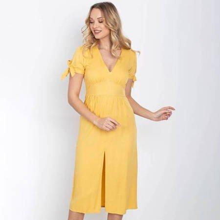 Żółta sukienka midi z guziczkami - Odzież