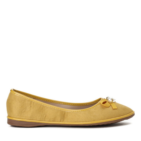 Żółte baleriny z kokardką Braila - Obuwie