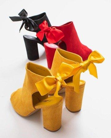 Żółte sandały na wysokim słupku z cholewką Haidil - Obuwie