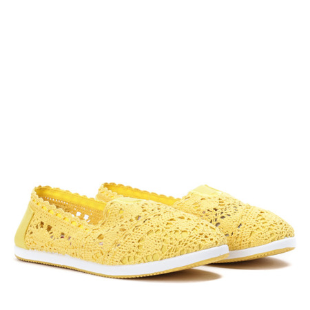 Żółte slip on koronkowe Morona - Obuwie