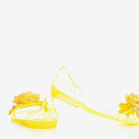 Żółte transparentne meliski z ozdobami Malia - Obuwie