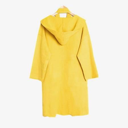Żółty sweter kardigan z kapturem - Odzież