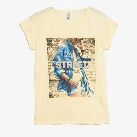 Żółty t-shirt damski z nadrukiem - Odzież