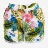 Białe damskie krótkie spodenki w kwiaty - Odzież