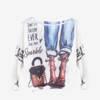 Biało - niebieski damski sweter z printem - Odzież