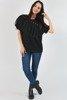 Czarna damska bluzka z ozdobami - Bluzki