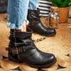 Czarne botki z ozdobami Ivette - Obuwie