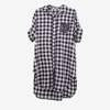 Damska koszulowa tunika w kratkę - Odzież