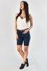 Granatowe jeansowe szorty z lampasami - Odzież
