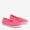 Neonowo-różowe dziewczęce koronkowe slip - on Arcuma - Obuwie