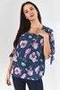 Niebieska bluzka w kwiaty - Odzież